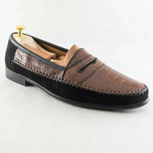 ZELLI Men 10.5 Handcrafted Ostrich Suede Loafers